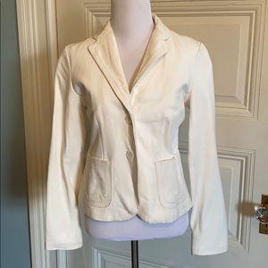 White leather jacket from Banana Republic